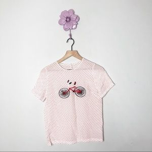 Silk Red/White Polka Dot Bicycle Embroider Blouse